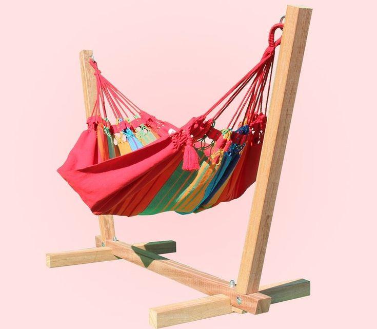 Rainbow Baby Hammock colour #1 with hardwood baby hammock stand : Quality Hammocks and Hanging Chairs, Marañon World of Hammocks