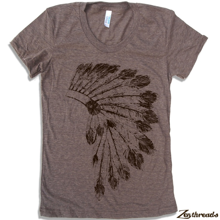 @Amanda Downing     Womens Native American HEADDRESS american apparel T Shirt S M L XL (16 Colors Available). $18.00, via Etsy.