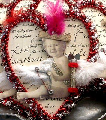 Mixed media ValentinesScrapbook Ideas, Funny Valentine, Heavens Heart, Altered Stuff, Family Photos, Media Valentine, Mixed Media, Families Photos, Collage Photos
