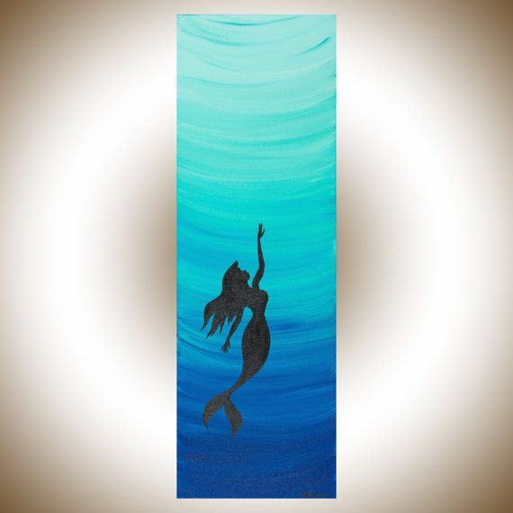 Mermaid art mermaid painting Teal blue painting by QiQiGallery