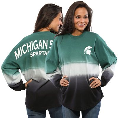 Michigan State Spartans Women's Ombre Long Sleeve Dip-Dyed Spirit Jersey - Green