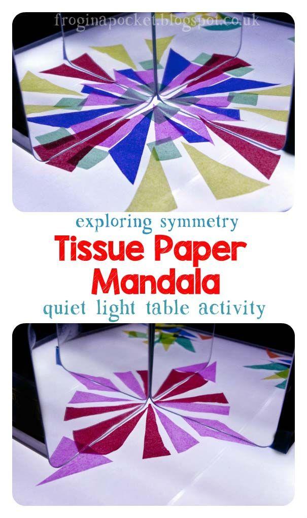 Frog in a pocket: Tissue Paper Mandala - quiet light table activity