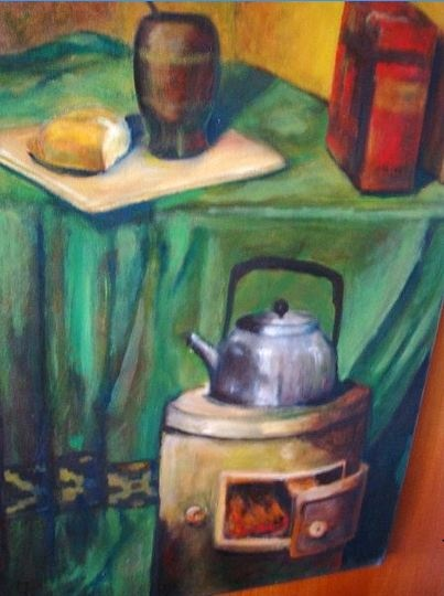 """Norberto Juan Galli, """"Mate y pan"""", 50x70 cm, Óleo/tela. ¿Parece un desayuno argentino, no?  http://www.estimarte.com/?cmod=muestra_artist_ms=1=6ec0e73e32cd102df49fd823789cec54 Enlace relacionado:  Entrada de blog relacionada: """"Desayuno en el arte (literario y plástico) http://alsitiolenguas.blogspot.com.ar/2013/12/desayuno-en-el-arte-literario-y-plastico.html La yerba mate http://www.educ.ar/sitios/educar/recursos/embebido?id=20035"""