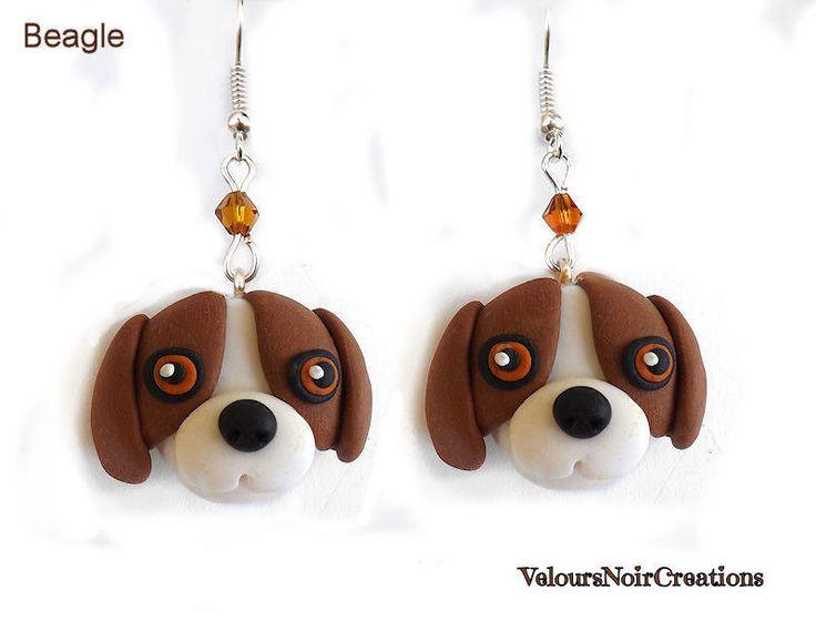 beagle earrings polymer clay handmade, by Velours Noir Crèations, 10,00 € su misshobby.com