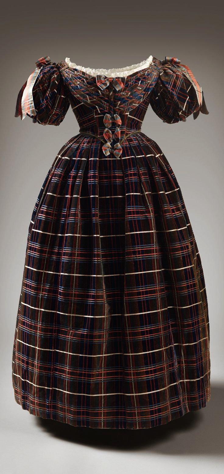 """Queen Victoria's """"Tartan"""" Dress, unknown maker, 1835-37. Photo via Vogue UK (see Ann Russell's article, """"Inside Holyroodhouse's New Royal Style Exhibition,"""" dated April 21, 2016). CLICK FOR LARGER IMAGE."""