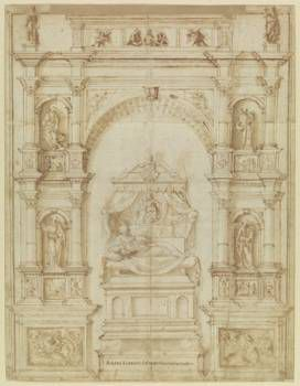 Andrea Contucci Sansovino , Project for the tomb Sforza in S. Maria del Popolo in Rome (With indication written by Vasari) (Drawing)