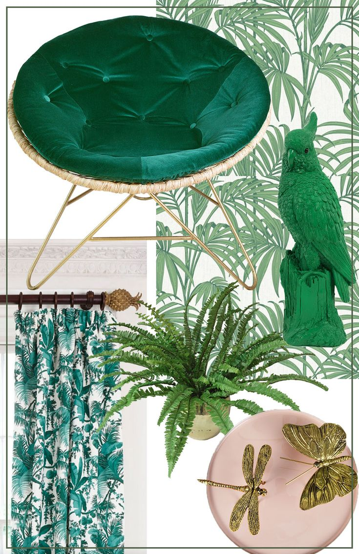 Tropical interiors is a key look for SS16. Think lush tropical greenery with colonial rattan- MiaFleur