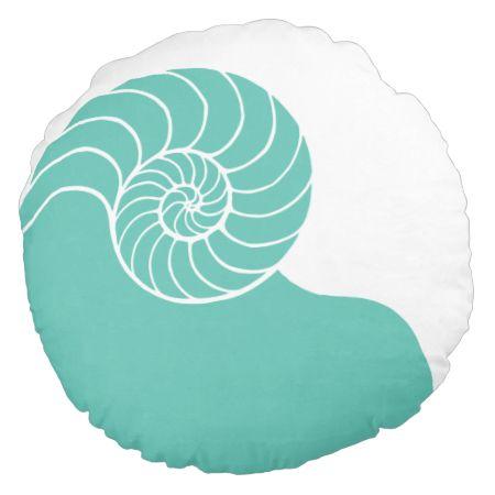 Teal Nautilus Sea Shell Round Cushion