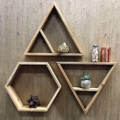 RAW Restorations triangle and hexagon shelves.  Wall decor