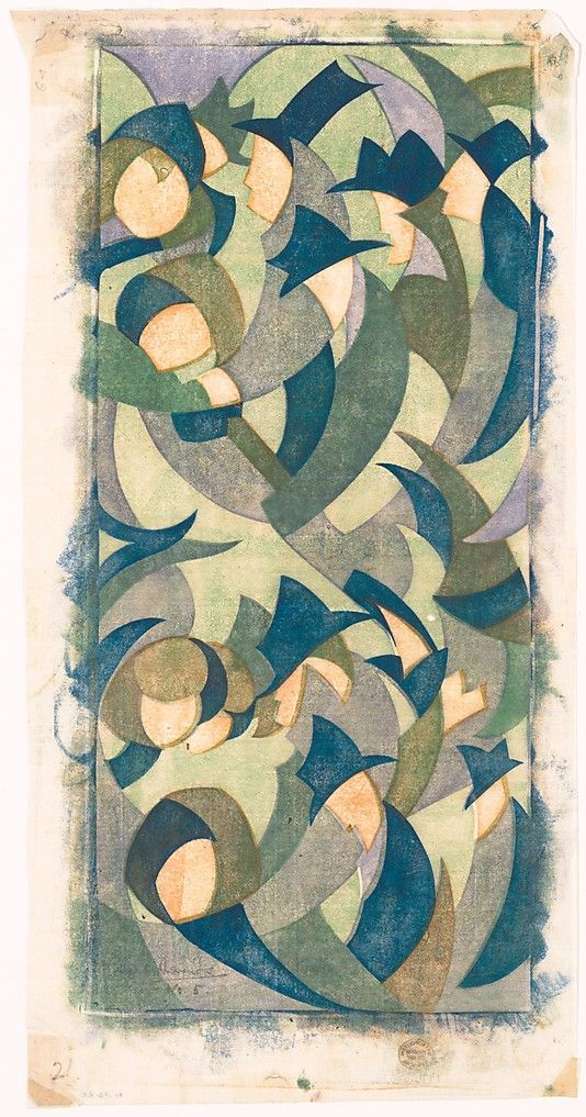 Sybil Andrews, Hyde Park, linocut