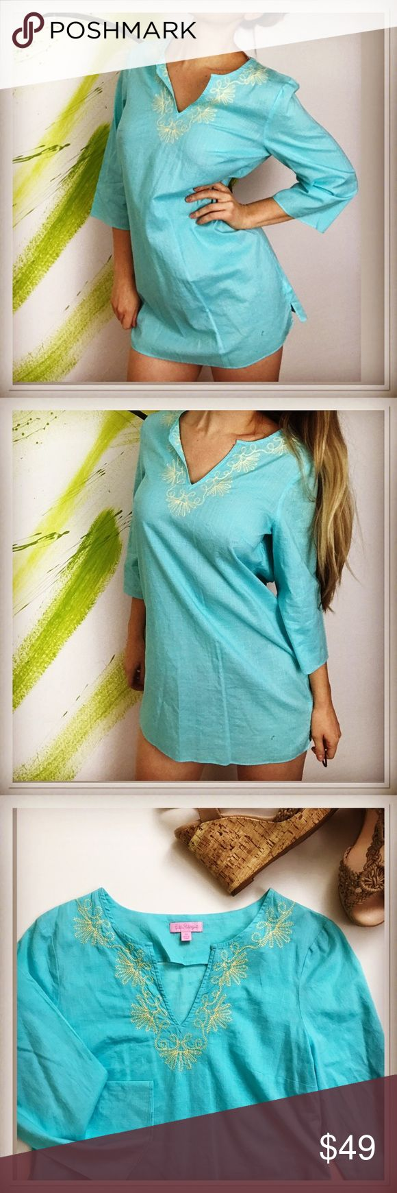 """Lily Pulitzer embroidered shift dress cover up Lily Pulitzer embroidered shift dress cover up is preppy and so cute. Gorgeous high quality embroidery in light yellow color. Beautiful light blue/aqua color dress is perfect for those of us who are lucky to celebrate this holiday season in the tropics🌈🌴 colorful, detailed designer dress is size M on tag, but feels like it would be good for S as well as its relaxed fit. Pit to pit 20"""" length 32"""". Little short on me -I'm 5.9"""" like new…"""