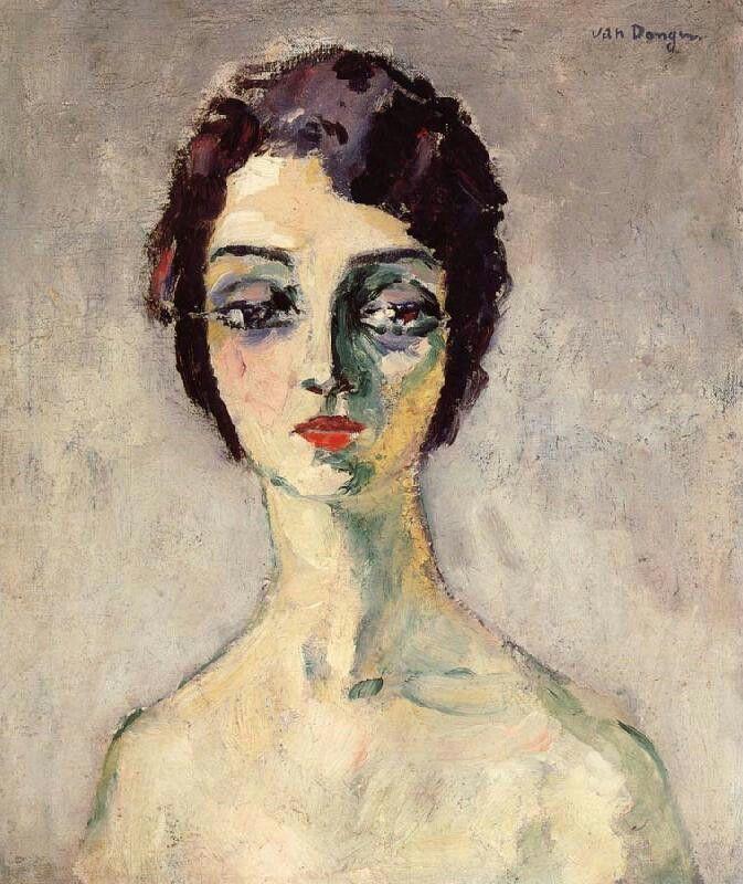 Kees van Dongen, 1924, Loulou, onbekend. Kees van Dongen was van origine een Nederlandse kunstenaar die zich al op jonge leeftijd in Parijs vestigde. Als groot bewonderaar van Rembrandt schilderde hij in eerste instantie met vrij donkere kleuren, maar als hij tijdgenoten als Picasso en Matisse ontmoet sluit hij zich aan bij het Fauvisme en worden zijn kleuren steeds levendiger. In deze stijl werd hij snel succesvol, hij maakte grote portretten van mensen uit de film- en theaterwereld en kon…