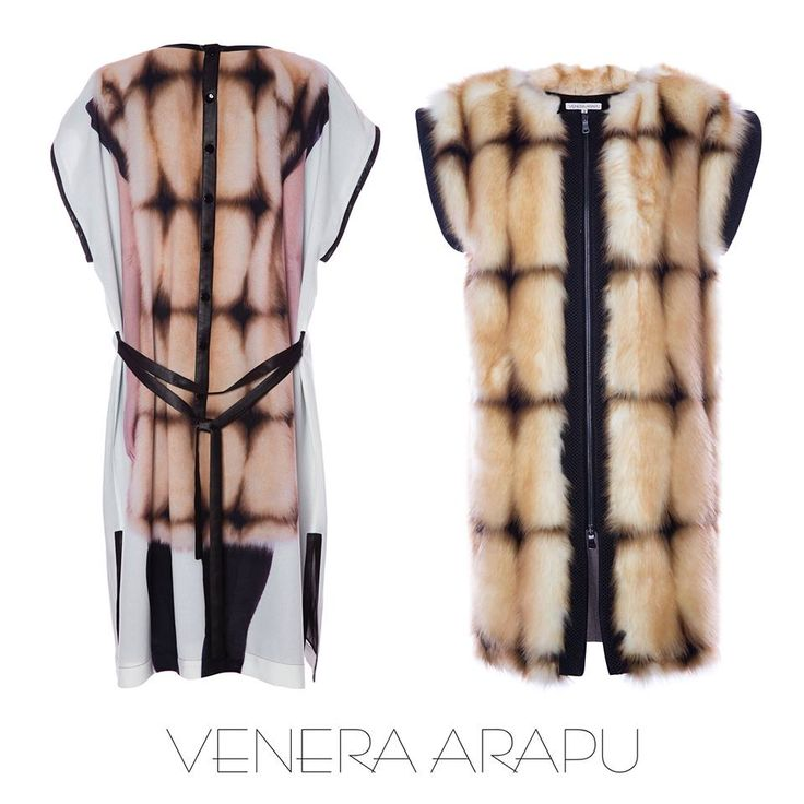 Fur vest and fur print dres from the Venera Arapu fw15 collection, now online at www.venera-arapu.com