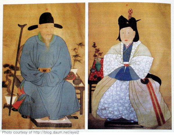 15th century portraits of a Korean scholar and his wife