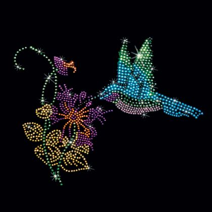 (BLUE & GREEN HUMMINGBIRDS  (STUDS)) 8x7  - BLUE & GREEN HUMMINGBIRDS  (STUDS) - bird, blue, flower, green, hummingbird, ladies, nature, studs, Material Transfer, Flowers