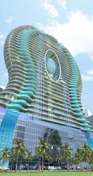 The 30-story Bandra Ohm, in Mumbai, India, is an abstract representation of the symbol Ohm (Ω). It is an appartment complex with a personal swimming pool balcony per appartment!