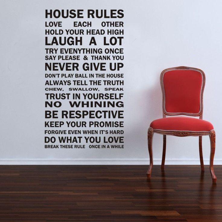 Wall-By-Wall | Muursticker House Rules. Huisregels op papier! Heb jij graag een grappige toets als decoratie, maar toch betekenisvol? Met deze muursticker slaag je er zeker in!