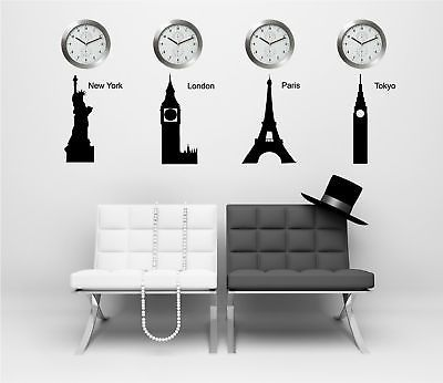 Time Zone Wall Quote Decal- NEW YORK LONDON PARIS TOKYO