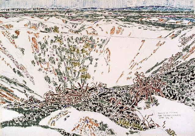 david milne artist | The Twin Craters, Vimy Ridge, Watercolor, 1919