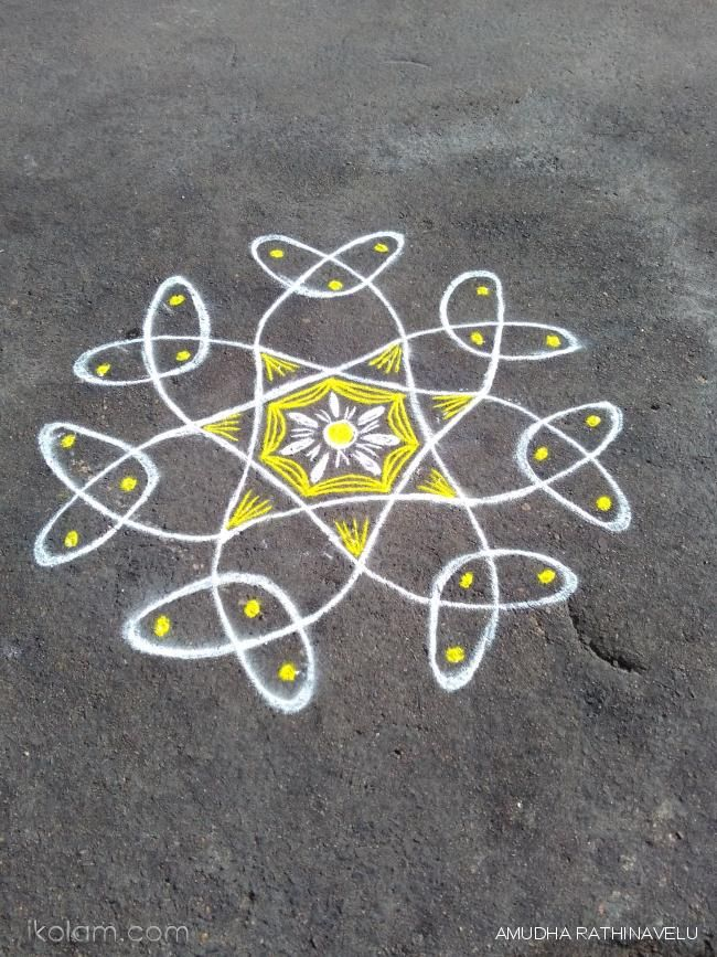 Rangoli Chikku flower rangoli of the day | m.iKolam.com