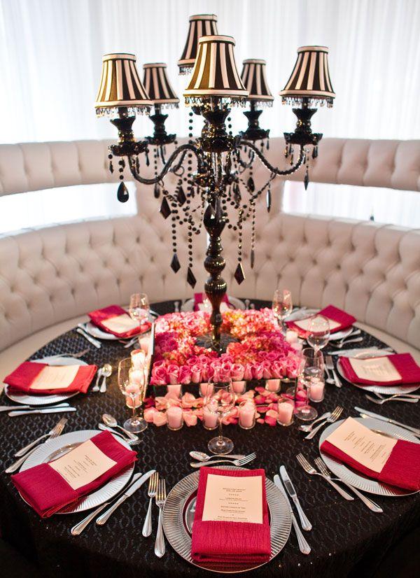 david tutera tall centerpieces: Pink And Black Tables Decor, Tables Sets, Lamps Shades, David Tutera, Unique Candelabra, Pretty Tables, Black Tablescapes, Bridal Shower, Tall Centerpieces