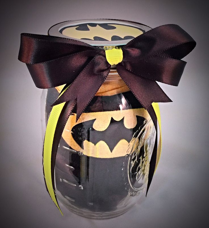 Batman! Superhero in a jar-Perfect Party Prize or favors-Mason Jar Gift Ideas This item is made to order and can be customize to your liking. If you like a certain theme to match your event, please co