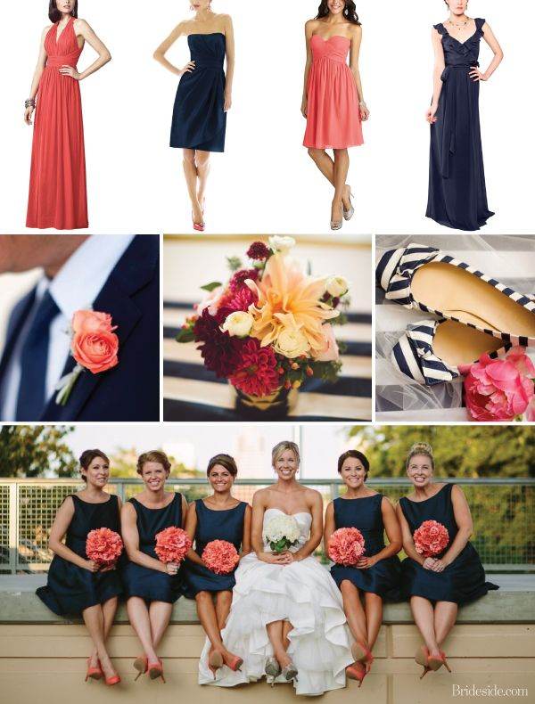 Ideas for navy blue and coral wedding. navy and coral bridesmaid gowns are perfect for any wedding theme | Brideside