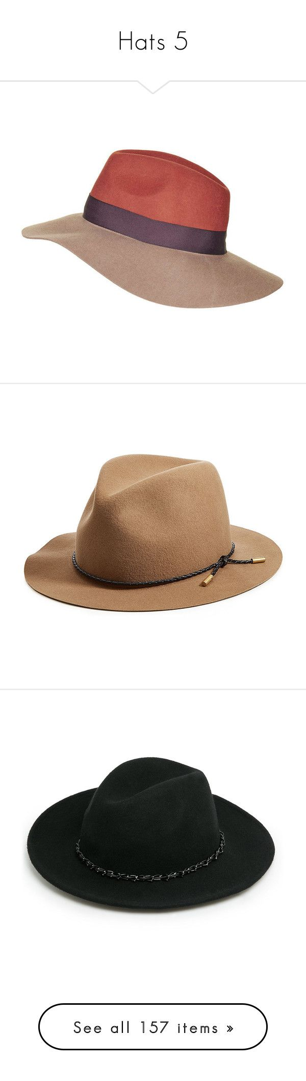 """Hats 5"" by croonessii ❤ liked on Polyvore featuring accessories, hats, rust, topshop hats, woolen hat, wool fedora, fedora hat, wide brim wool hat, headwear and camel"
