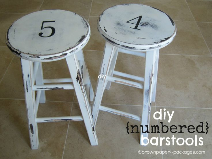 brown paper packages: {diy numbered barstools} the how to make them --- uses vaseline to help with the distressing