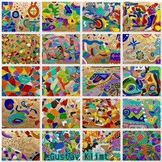 Gustav Klimt art project, Woman In Gold, middle school art, 8th grade, spray paint, Art Education, Art Education Blog, Maria Altmann, karen ray, Elmer's glue,