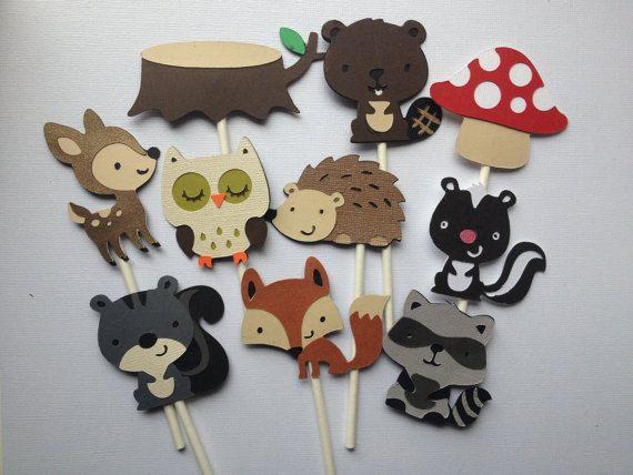 12 Arbolado Animal Cupcake Toppers amigos del bosque por MiaSophias, $11.99