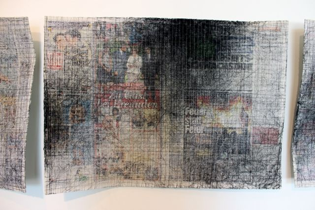 Almyra Weigel. Sewing threads on the newspaper. Detail. www.almyraweigel.de