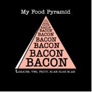 Funny Bacon Food Pyramid Humor Design  Whether you are a health nut, athlete, nutritionist, bacon lover or foodie, this baconized design will transport you into a crispy, crunchy, delicious, greasy, bacony state of extreme happiness. Start your own bacon of the month club with these delicious bacon gifts like womens bacon shirts, mens bacon shirts, kids bacon shirts and bacon sweatshirts. Send bacon gifts to everyone who loves bacon.  Give a sweet treat to yourself and buy a bacon gift for…