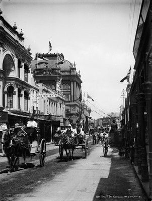 King St,Sydney looking east from George St in 1880.