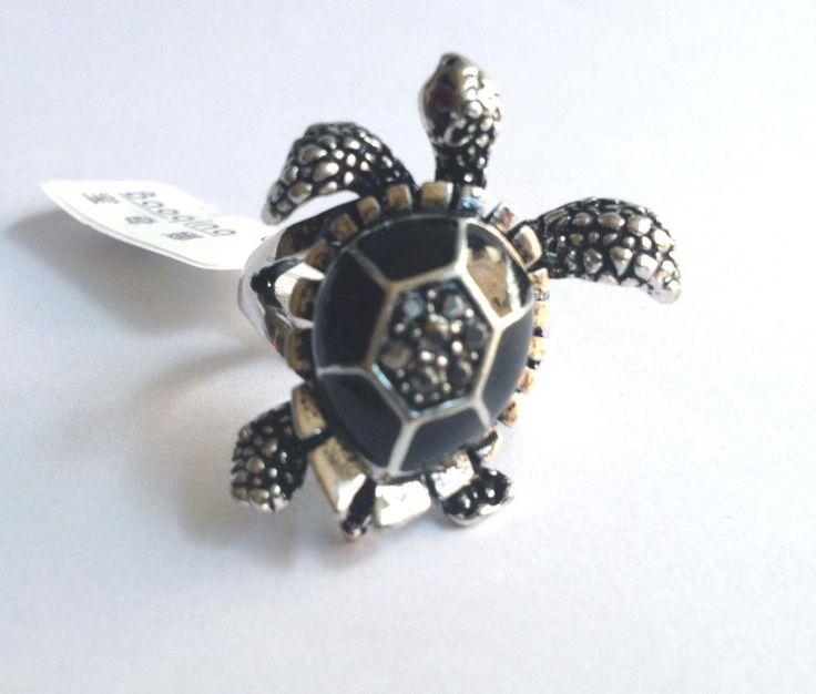 Silver Rhodium Plated Sea Turtle Cocktail Ring Life Beach Black Enamel Size 9 #Unbranded #Cocktail