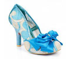 New Irregular Choice Ascot Blue/Cream Fabric/PU High Heel Court Shoe Sale