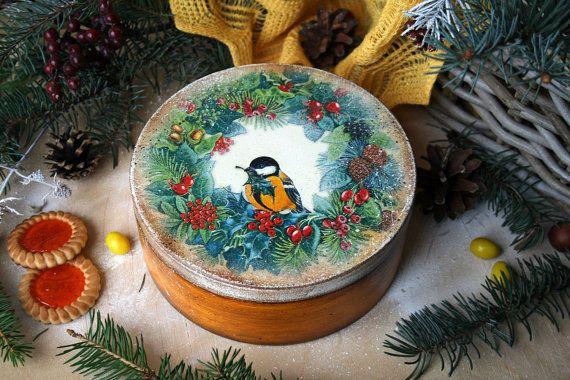 Round Winter bird boxTrinket boxwooden storage boxes от DecoDvorik