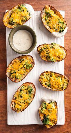 A delicious broccoli-cheddar potato skins recipe, perfect for game day.