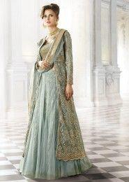 Wedding Wear Net Grey Embroidered Work Anarkali Suit