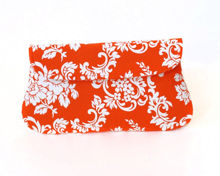 Damask Orange Clutch Purse by Oyeta on Etsy