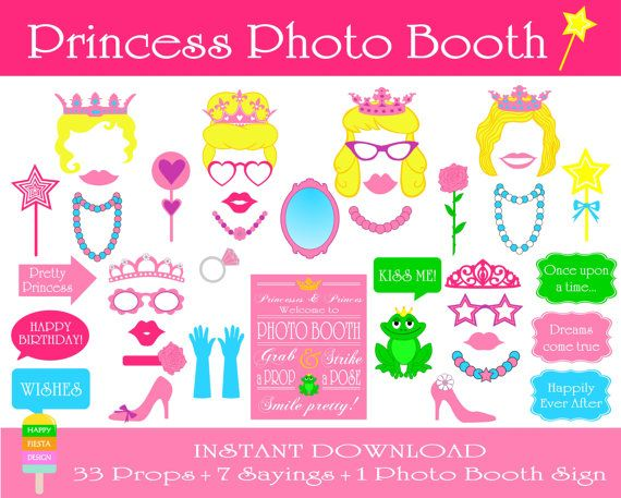 Princess Photo Booth Props–41 Pieces (33 props,7 sayings,1 photo booth sign)-Printable Princess Birthday Part Props-Instant Download