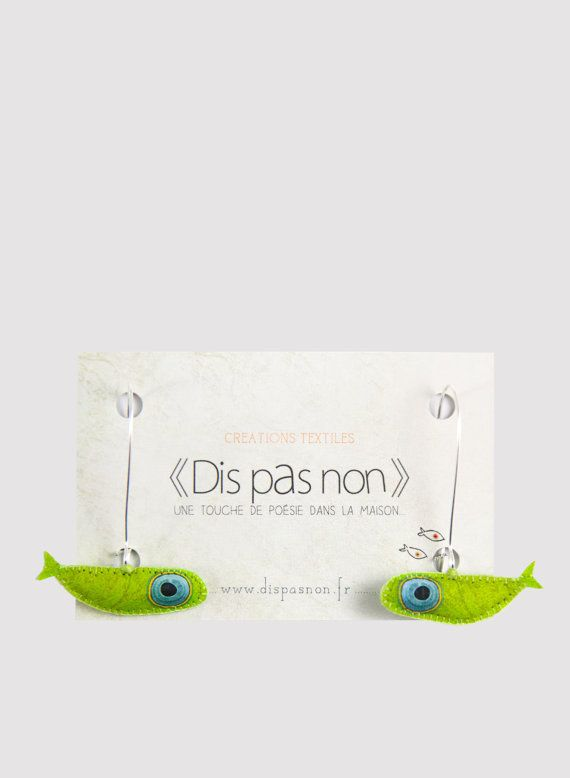 Boucles-d'oreilles petits poissons verts par DisPasNon sur Etsy
