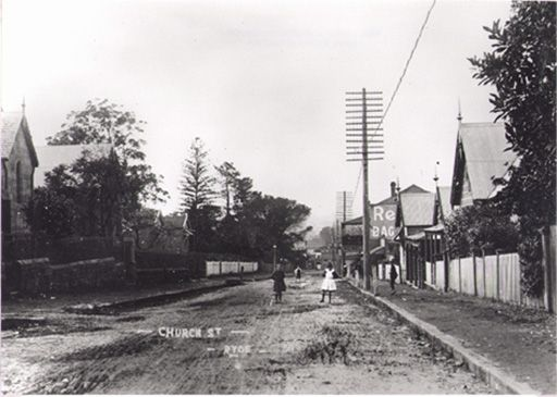 View of Church Street, Ryde in 1912. Photo taken from near St Anne Anglican Church.