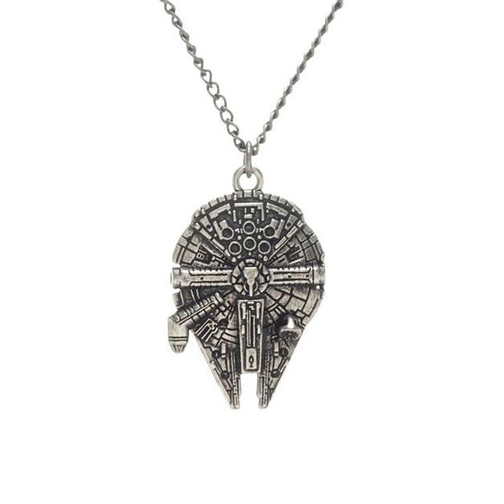 Millennium Falcon Star Wars Jewellery. The classic Millennium Falcon is an icon in Star Wars history and it is well represented in this attention grabbing Star Wars necklace. #StarWars #Jewellery
