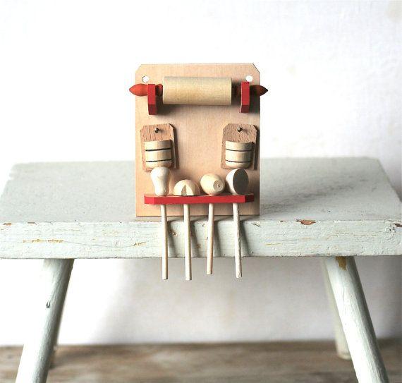 Miniature wooden cooking set