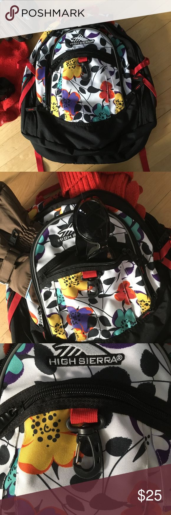 High Sierra Backpack Black and white with flowers High Sierra Backpack with Suspension Strap System, three pockets to separate all your necessities and more durable for hiking and adventure Jansport Bags Backpacks