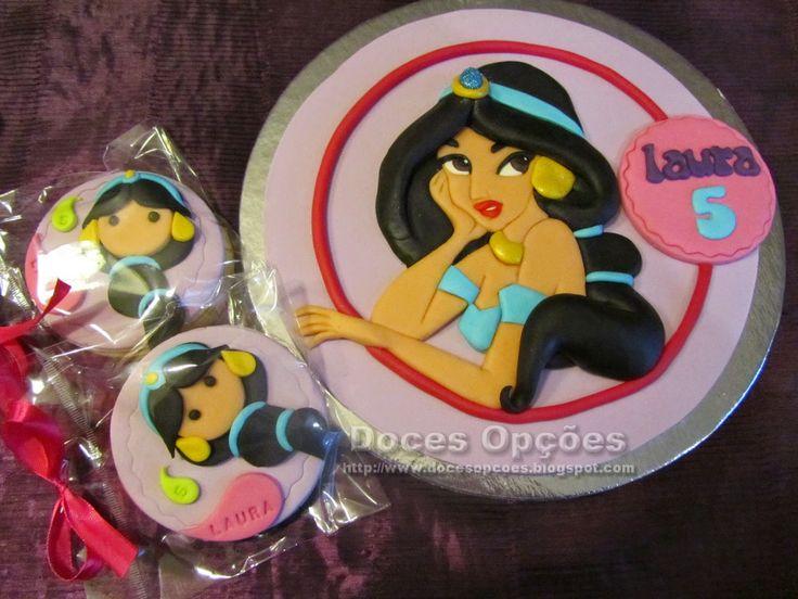 Doces Opções: Bolachas e topo de bolo com a princesa Jasmine