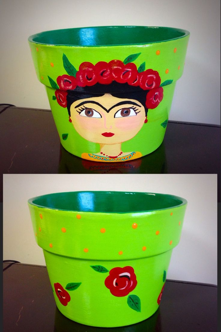 Frida. Maceta pintada a mano. Pot.