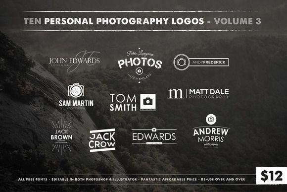 Photography Logos Vol 3 by Jack_Piingu on @creativemarket