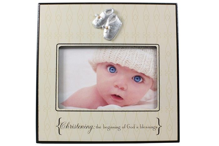 Christening baby photo frame, special day baptism gifts with silver booties